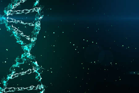 Genetics concept with digital dna spiral and abstract technology background. 3D Rendering