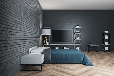 Minimalistic bedroom with blue cover, tv and blank brick wall. Design and style concept. 3D Rendering