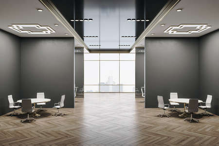 Luxury conference room interior with city view, wooden floor and daylight. Workplace and company concept. 3D Rendering