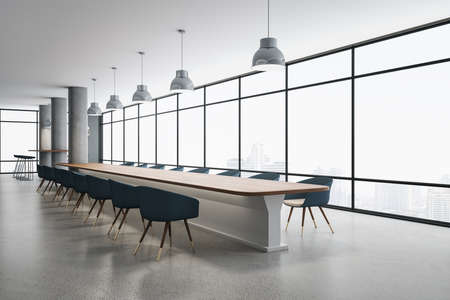 Modern conference room interior with panoramic city view, reflections on concrete floor and daylight. 3D Rendering 免版税图像