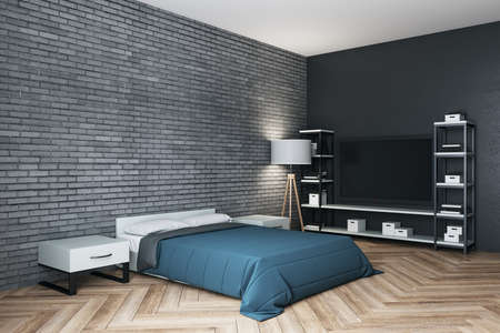 Clean bedroom with blue cover, tv and blank brick wall. Design and style concept. 3D Rendering