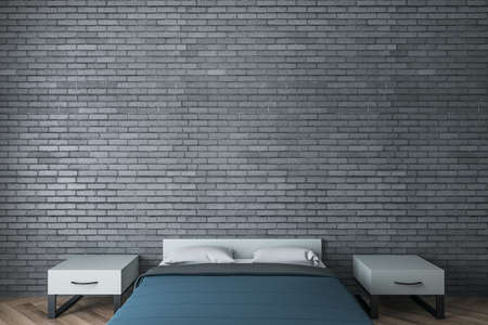 Minimalistic bedroom with blue cover and copy space brick wall. Design and style concept. 3D Rendering
