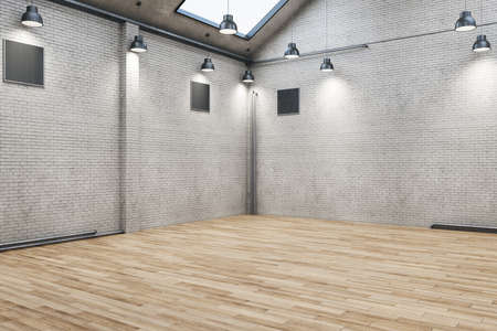 Modern brick warehouse interior with wooden floor and blank wall. Design and style concept. Mock up, 3D Rendering
