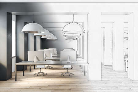 Drawing office interior with furniture and computers on table. Workplace concept. 3D Rendering