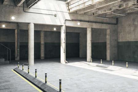 Concrete parking garage underground interior with columns. Urbanization and transport concept. 3D Rendering Stock Photo