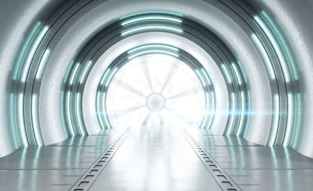 White futuristic tunnel interior with neon lamps. Future and design concept. Mock up. 3D Rendering