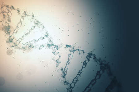 Digital dna spiral and abstract technology background. Genetics concept. 3D Rendering
