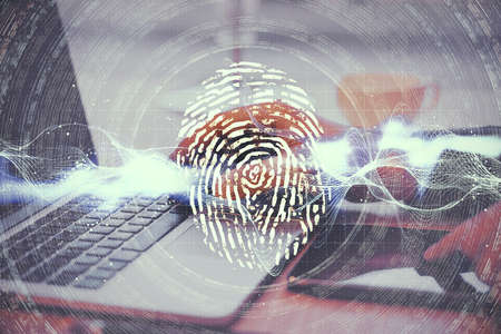 Hands using laptop with glowing finger print and data protection interface. Access, password and protection concept. 스톡 콘텐츠