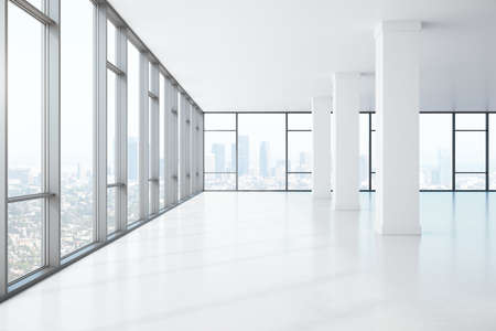 Big window spacious hall with concrete columns and city view. Performance and presentation concept. 3D Rendering