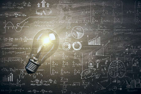 Illuminated lamp with mathematical formulas. Idea, science and knowlegde concept. 3D Rendering