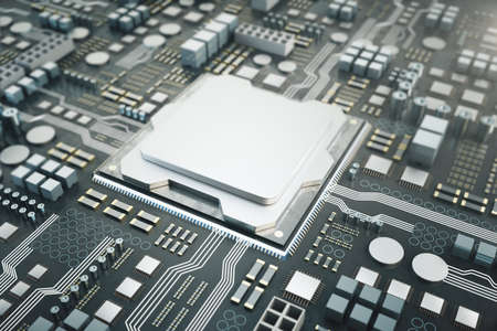 Silver microchip on dark circuitboard. Hardware and engineering concept. Mock up, 3D Rendering Stock Photo