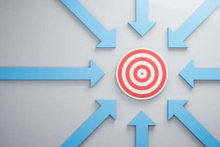 Blue arrows pointing to target. Leadership and success concept. 3D Rendering