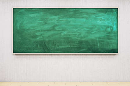 Empty green chalkboard in classroom interior. Education and school concept. Mock up, 3D Rendering