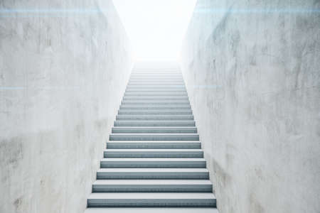 Empty walls and staircase in concrete room with sunlight. Business and success concept. 3D Rendering