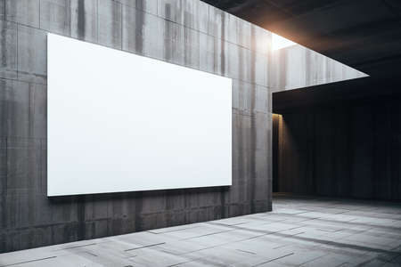 Modern gallery room with empty billboard on wall. Museum and exhibition concept. Mock up, 3D Rendering