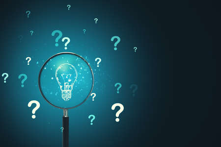 Magnifying glass search lightbulb and drawing question mark on blue background. Success and startup concept. 3D Rendering