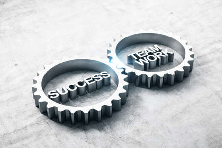 Two metal gears with text success and teamwork on concrete table. Business and teamwork concept. 3D Rendering