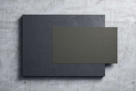 Empty black poster hanging on placard on concrete wall. Museum and exhibition concept. Mock up, 3D Rendering Фото со стока