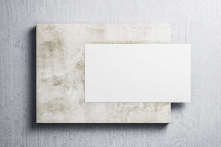Empty white banner hanging on concrete wall. Museum and exhibition concept. Mock up, 3D Rendering