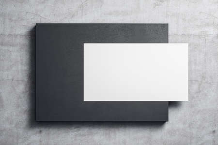 Empty white poster hanging on black placard on concrete wall. Museum and exhibition concept. Mock up, 3D Rendering