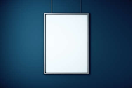 Blank white banner on concrete blue wall. Museum and exhibition concept. Mock up, 3D Rendering Фото со стока
