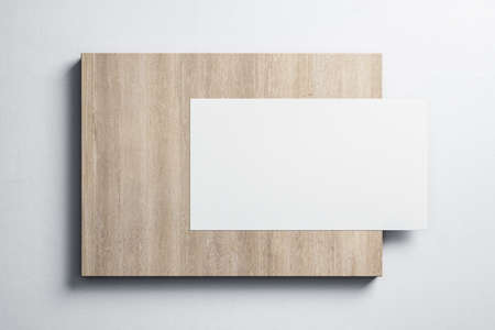 Blank white poster hanging on wooden placard. Museum and exhibition concept. Mock up, 3D Rendering Фото со стока