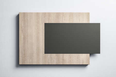 Blank black billboard hanging on wooden placard. Museum and exhibition concept. Mock up, 3D Rendering
