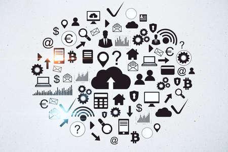 Drawing cloud computing diagram on concrete wall. Cloud computing and communication concept. 3D Rendering Imagens