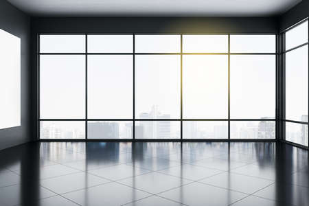 Light empty office interior with panoramic city view and sunlight on concrete floor. 3D Rendering