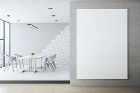 White hipster meeting room with blank banner on wall. Workplace and lifestyle concept. 3D Rendering Reklamní fotografie