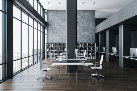 Coworking office hall with panoramic city view, computers on table and shelf with documents. Workplace and company concept. 3D Rendering Reklamní fotografie