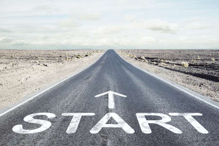 Asphalt road and a 'start' point. Start straight for business concept Reklamní fotografie