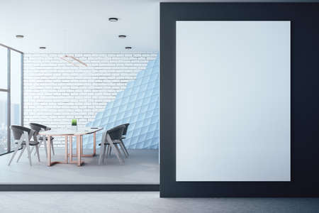 Modern meeting room with blank poster on wall. Workplace and lifestyle concept. 3D Rendering