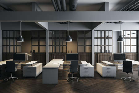 Minimalistic office room with computers on table, furniture and shelf with documents. Workplace and company concept. 3D Rendering