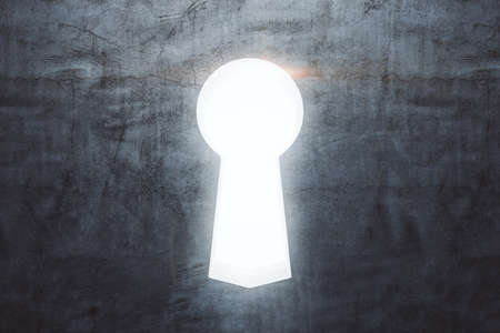 Glowing keyhole on concrete wall. Business and security concept. Close up. 3D Rendering