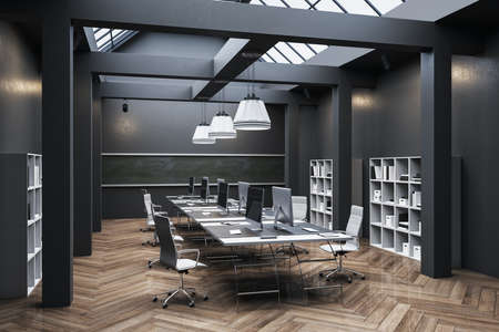 Clean office interior with computer, furniture and shelf with documents. Workplace and company concept. 3D Rendering