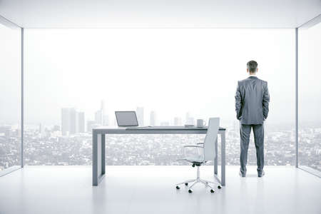 Businessman standing in boarding room with laptop on table and panoramic city view. Workplace and worker concept. Reklamní fotografie