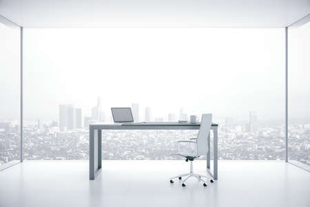 Luxury boarding room interior with laptop on table and panoramic city view. Workplace and corporate concept. 3D Rendering