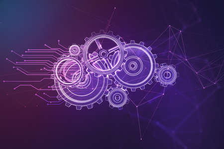 Glowing digital cogwheels on purple background. Mechanism and server concept. 3D Rendering Reklamní fotografie