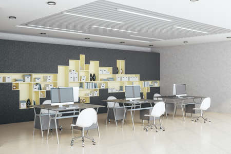 Modern hipster office interior with computers and shelves with documents. Workplace and company concept. 3D Rendering