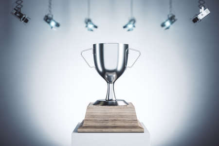 Silver winner's cups placed on white pedestals. Award and winner concept. Mock up, 3D Rendering