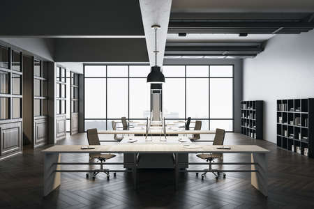 Clean coworking office interior with city view and shelves with documents. 3D Rendering
