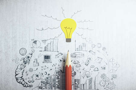 Drawing business plan, yellow light bulb and red pencil. Idea, innovation and plan concept. 3D Rendering