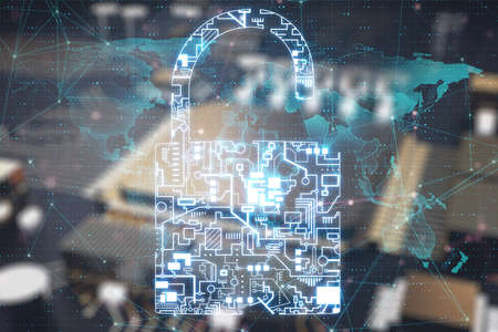 Glowing circuit padlock and world map interface. Safety and protection concept. 3D Rendering Stock fotó - 154778119