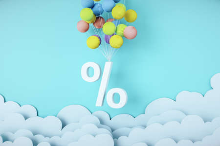 Flying white percent symbol with color balloons. Finance and trade concept. Mock up, 3D Rendering Reklamní fotografie