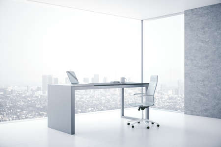 Modern boarding room interior with laptop on table and panoramic city view. Workplace and corporate concept. 3D Rendering
