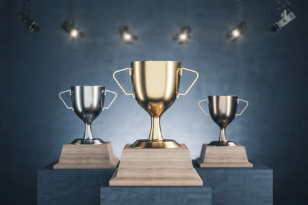 Golden, silver and bronze winner's cups on gray concrete pedestals. Award and winner concept. Mock up, 3D Rendering