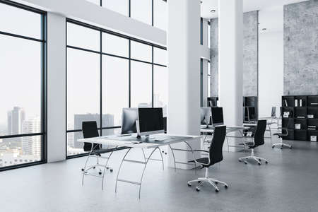 Modern office interior with megapolis city view and computers on table. Workplace and design concept. 3D Rendering