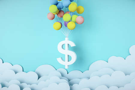 Flying dollar symbol with color balloons. Finance and trade concept. Mock up, 3D Rendering Reklamní fotografie