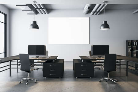 Coworking office interior with empty billboard on wall. Workplace and corporate concept. Mock up, 3D Rendering